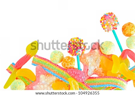 Mixed colorful fruit candiesclose up