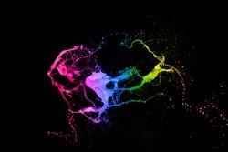 mixed colorful paint splash isolated on white background