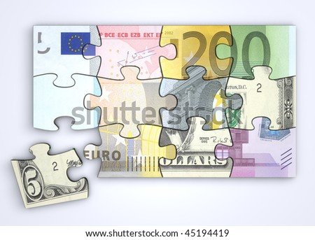mixed dollar and euro note puzzle from top with a single separate dollar piece