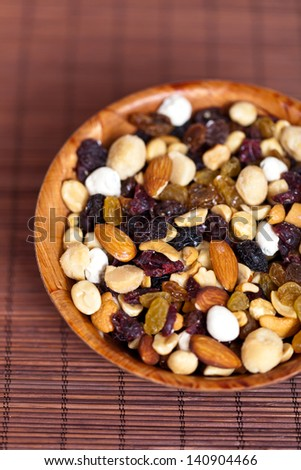 Mixed dried fruit, nuts and seeds