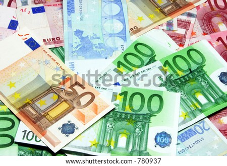 mixed euro bills