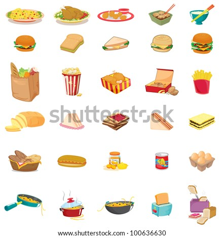 mixed food illustration on white - EPS VECTOR format also available in my portfolio.