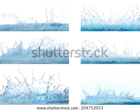 mixed form of splashing clear and clean  water on white background use for refreshment and cool backdrop ,textured