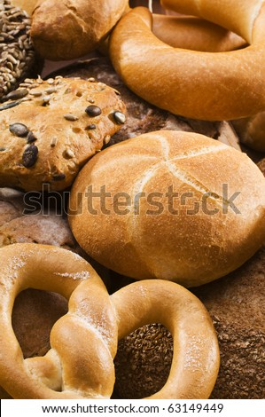 Mixed fresh bread background close up shoot