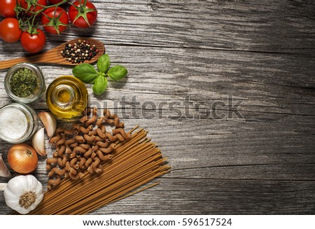Mixed fresh healthy food on wooden background #596517524