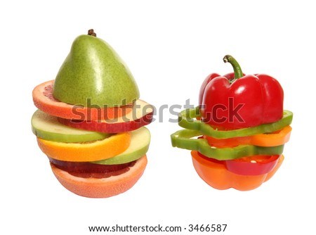 Mixed fruit and vegetables, apples, oranges, pepper, grapefruit, pear over white - stock photo