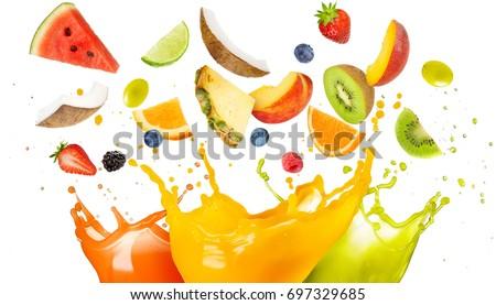 mixed fruit falling in colorful juices splashing  #697329685