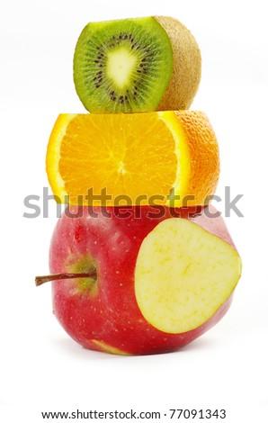 mixed fruit  isolated on white #77091343