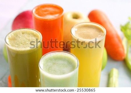 stock photo : mixed fruit juice, there are carrot, celery, apple, guava, good for health.