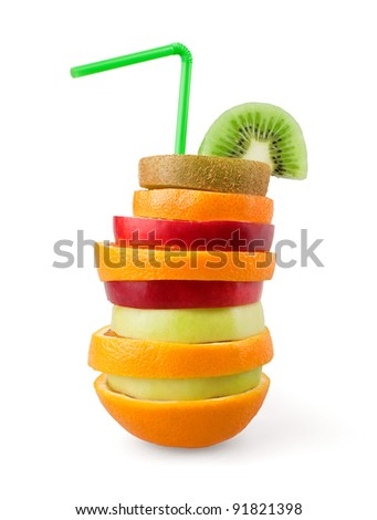Mixed fruit on white background