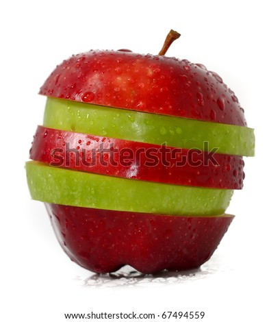 Mixed fruits, Green and Red Apple