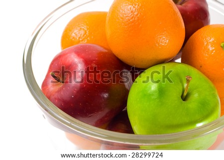 Mixed Fruits in a Bowl, Isolated on White Background, Comparing Apples And Oranges