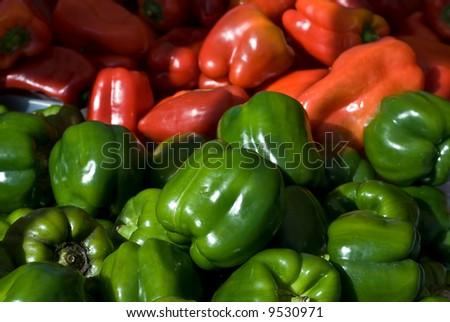Mixed Green and Red Peppers at Farmers Market