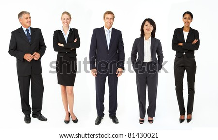 Mixed group of business men and women