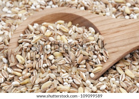 Mixed healthy grains with wooden spoon. - stock photo