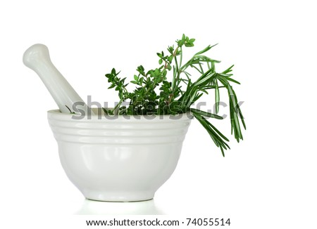 Mixed Herbs, Rosemary and Thyme, In A White Mortar and Pestle Ceramic Pot