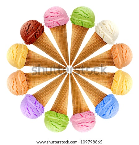 Mixed ice creams in cones on white background