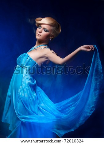 Mixed light fashion portrait of young attractive woman
