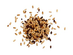 Mixed Malted Barley on White Background
