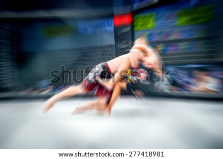 Mixed martial artist in action of fight. Zoom blur.