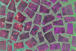 Mixed media artwork, abstract colorful artistic painted layer in pink, purple color palette on slab grunge texture photography background