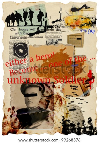 "Mixed media : ""Become a hero !"" (anti-militarist and anti-war theme) - picture no.2"