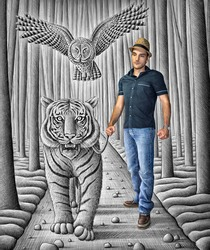 Mixed media image showing a young man posing in a giant drawing depicting a majestic tiger walking in a forest and a flying owl