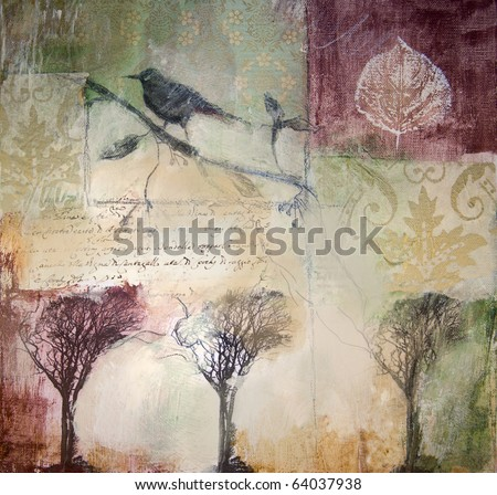 Mixed media layered painting with bird and winter trees. Painting style blurs and veils images.