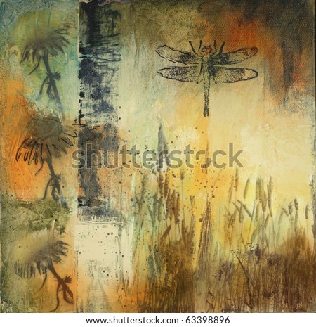 Mixed media painting on canvas with flowers, reeds, and dragonfly. All elements created by the photographer.