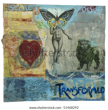 Mixed medium painting of butterfly headed ancient  alchemical goddess and crowned alchemical lion with the words Secret Desire Transformed.