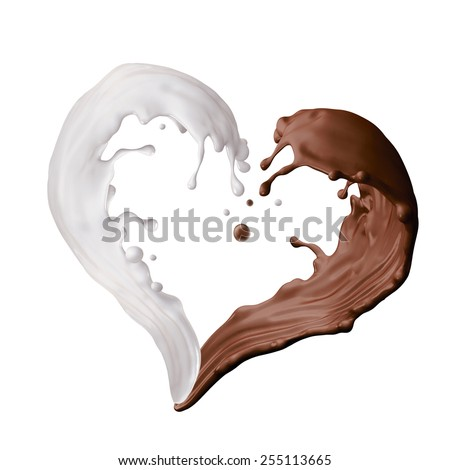 mixed milk and chocolate liquid splash, heart shape splashing, 3d illustration isolated on white