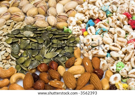 Mixed nuts and dried fruit and cereals