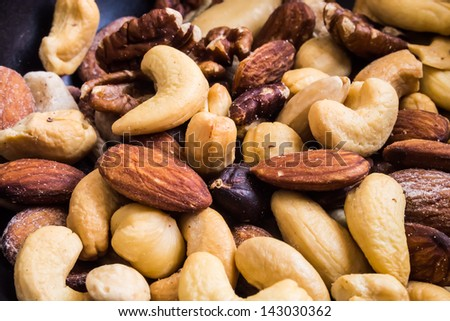Mixed nuts are a snack food consisting of any mixture of mechanically or manually combined nuts