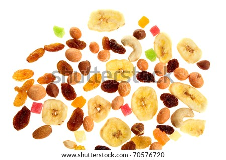 Mixed nuts, dried and candied fruits isolated on white