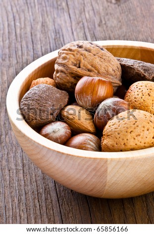 Mixed nuts in a wooden bowl containing almonds,walnuts,hazelnuts and Brazil nuts