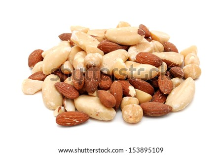 Mixed nuts, isolated on a white background