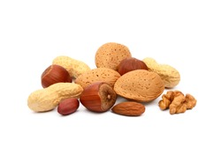 Mixed nuts isolated on white background