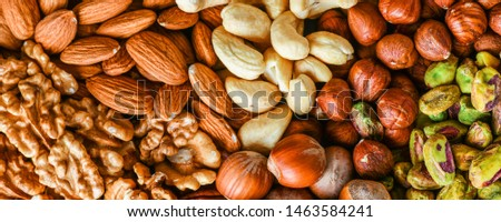 Mixed nuts like walnut, pistachio, almond, pecan, cashew, hazelnut. Copy space for text. Various nut banner or background.