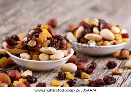 Mixed nuts on a plate on wooden background. #263054474