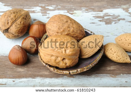 Mixed Nuts on wood