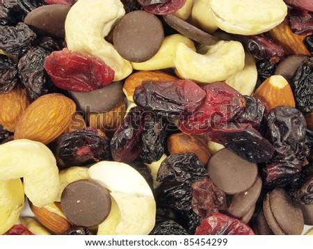 mixed nuts with raisins background