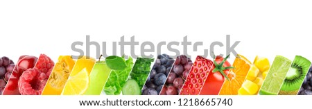 Mixed of color fruits and vegetables. Fresh ripe food. Food concept #1218665740