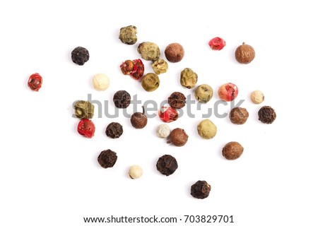 Mixed of peppers hot, red, black, white and green pepper isolated on white background. Top view #703829701