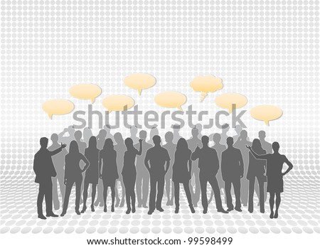 Mixed people silhouettes in layers with text call-outs. People vectors are separate from each other for easy editing and modifications