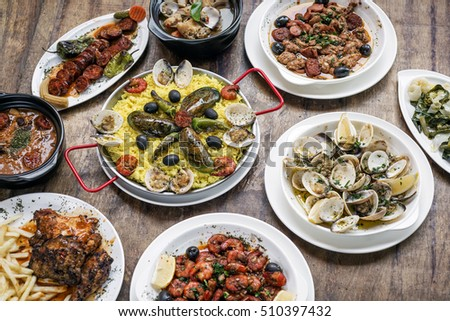 Shutterstock mixed portuguese traditional rustic tapas famous food selection on wood table