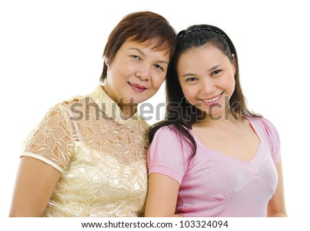 Mixed race Asian family isolated on white background