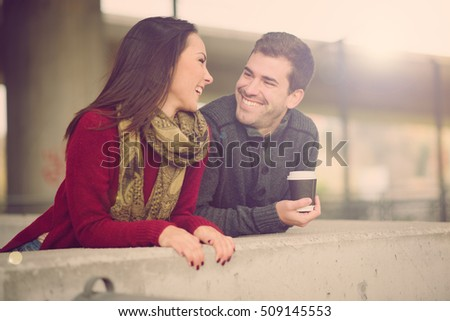Mixed race couple embracing, smiling and enjoying  #509145553