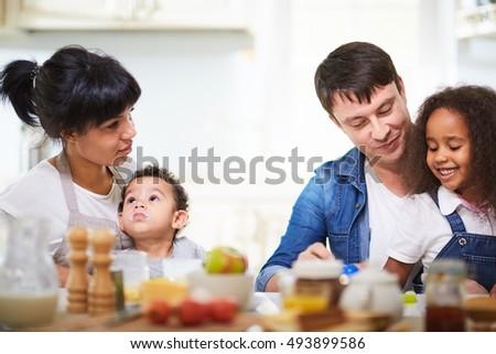 Mixed-race family #493899586