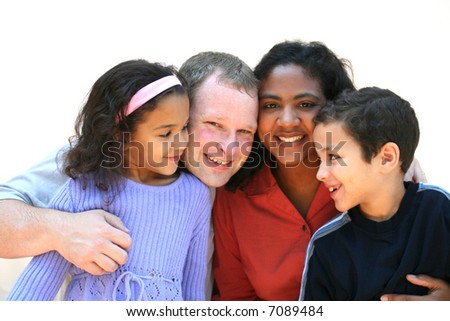mixed race family set on a white background stock photo 7089484