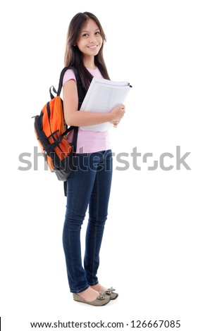 Mixed race pan Asian teen student with books standing on white